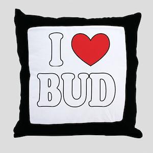 I Love BUD Throw Pillow