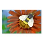 Bee Flower Sticker (Rectangle)