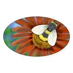 Bee Flower Sticker (Oval)