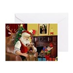 Santas Airedale(s) Greeting Cards (Pk of 10)