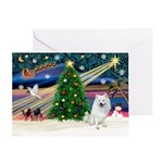 XmasMagic-American Eskimo Dog Greeting Card