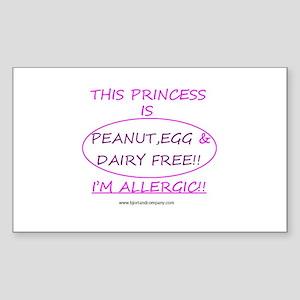 Peanut, Egg & Dairy Free Prin Sticker (Rectang