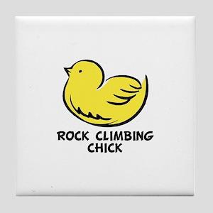 Rock Climbing Chick Tile Coaster