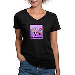 Laughing Dogs Women's V-Neck Dark T-Shirt