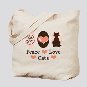 Peace Love Cats Kitty Cat Tote Bag