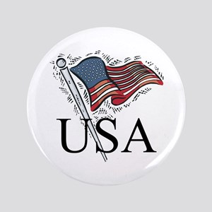 "American Flag 3.5"" Button"