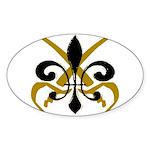 Fleur De Lis Pirate Oval Sticker (10 pk)