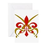 Fleur De Lis Pirate Greeting Cards (Pk of 10)