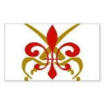 Fleur De Lis Pirate Rectangle Sticker 50 pk)