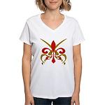 Fleur De Lis Pirate Women's V-Neck T-Shirt