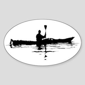 Kayaking Oval Sticker