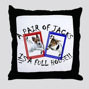 """Jack Russell """"Full House"""" Throw Pillow"""