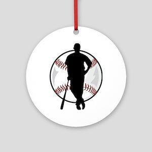 Baseball Player Ornament (Round)