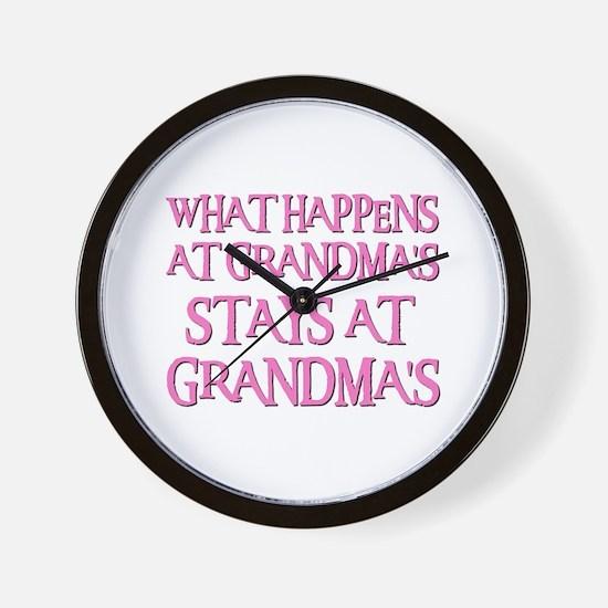 STAYS AT GRANDMA'S (pnk) Wall Clock