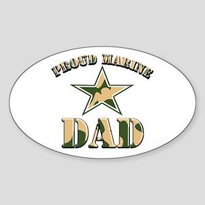 Proud Marine Dad Oval Sticker