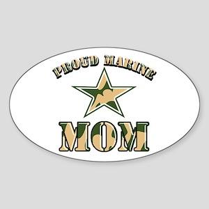 Proud Marine Mom Oval Sticker