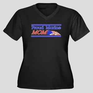Proud Marine Mom! Women's Plus Size V-Neck Dark T-