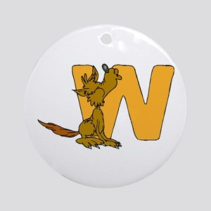 W is for Wolf Ornament (Round)
