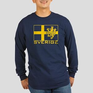 Sverige Flag Long Sleeve Dark T-Shirt