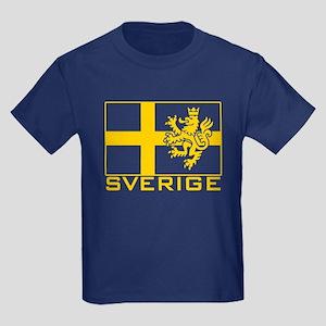 Sverige Flag Kids Dark T-Shirt
