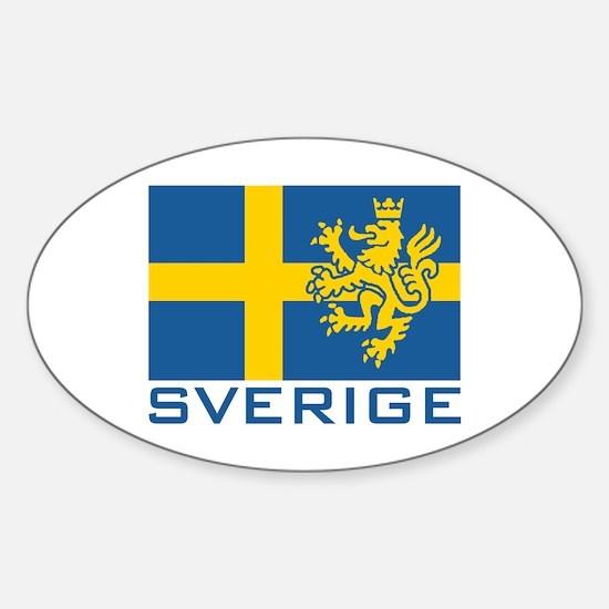 Sverige Flag Oval Stickers