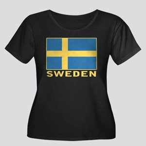 Sweden Flag Women's Plus Size Scoop Neck Dark T-Sh