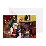 Santa's Bernese MDog Greeting Card