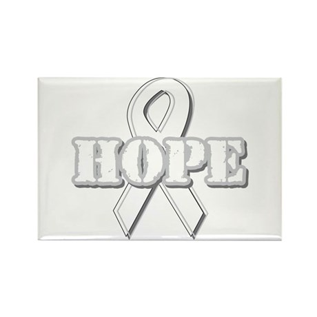 White Hope Ribbon Rectangle Magnet (10 pack)