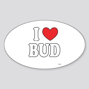 I Love BUD Oval Sticker
