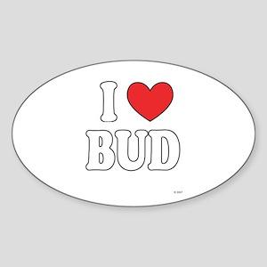 I Love BUD Oval Sticker