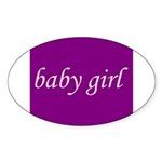 Baby Girl (pink & purple) Oval Sticker (10 pk)