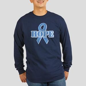 Lt Blue Hope Ribbon Long Sleeve Dark T-Shirt