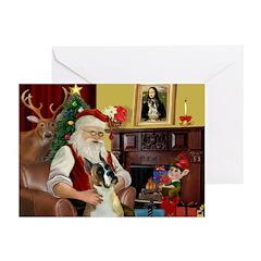 Santas Boxer (crpd) Greeting Cards (Pk of 10)