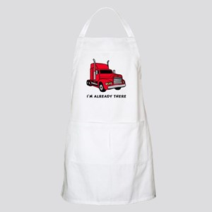 "Already There"" Red Semi Truck BBQ Apron"