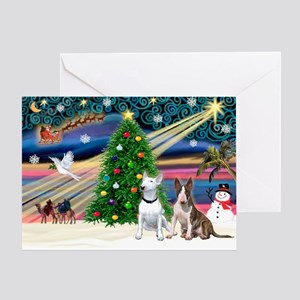"""Christmas Magic"" with two Bull Terr Greeting Card"