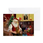 Santa's Dachshund (brn) Greeting Cards (Pk of 10)