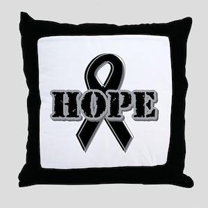 Black Hope Ribbon Throw Pillow