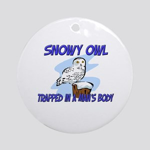 Snowy Owl Trapped In A Man's Body Ornament (Round)