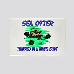 Sea Otter Trapped In A Man's Body Rectangle Magnet