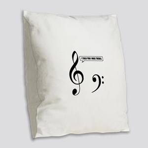 Treble Clef Burlap Throw Pillow