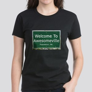 Welcome To Awesomeville Popul Women's Dark T-Shirt