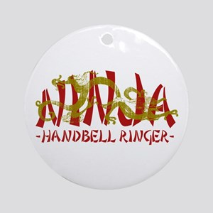 Dragon Ninja Handbell Ringer Ornament (Round)