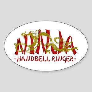 Dragon Ninja Handbell Ringer Oval Sticker