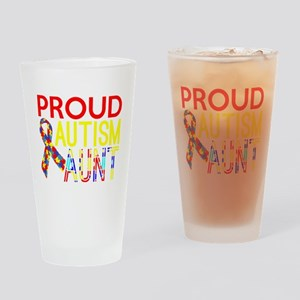 Proud Autism Aunt Awareness Drinking Glass