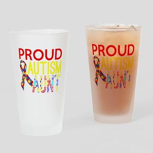 Proud Autism Aunt Awareness Drinking Glass