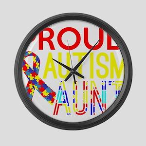 Proud Autism Aunt Awareness Large Wall Clock