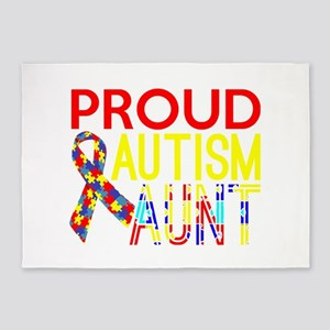 Proud Autism Aunt Awareness 5'x7'Area Rug