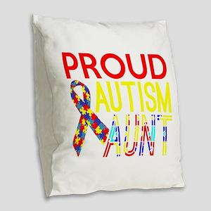 Proud Autism Aunt Awareness Burlap Throw Pillow