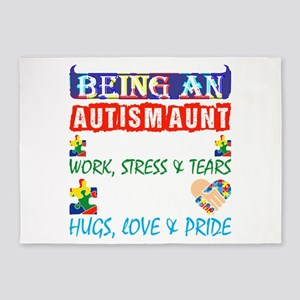 Being An Autism Aunt Is Twice Work 5'x7'Area Rug