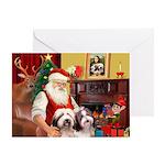 Santa's 2 Bearded Collies Greeting Card